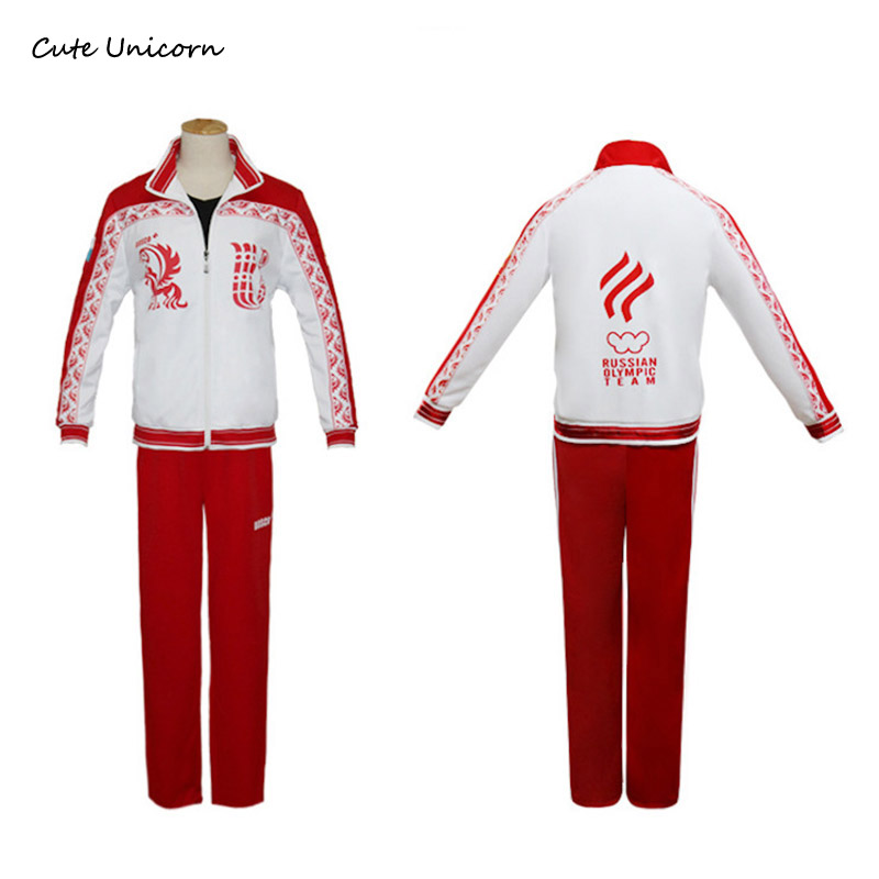Anime Yuri on Ice Jacket Pants Skating Uniform Cosplay Costume Victor Nikiforov Cosplay Clothes boys Outfits mens Track Suits