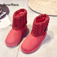 SexeMara 2017 Autumn And Winter Women Snow Boots Warm Boots Red Black Color Folded Cotton Cover