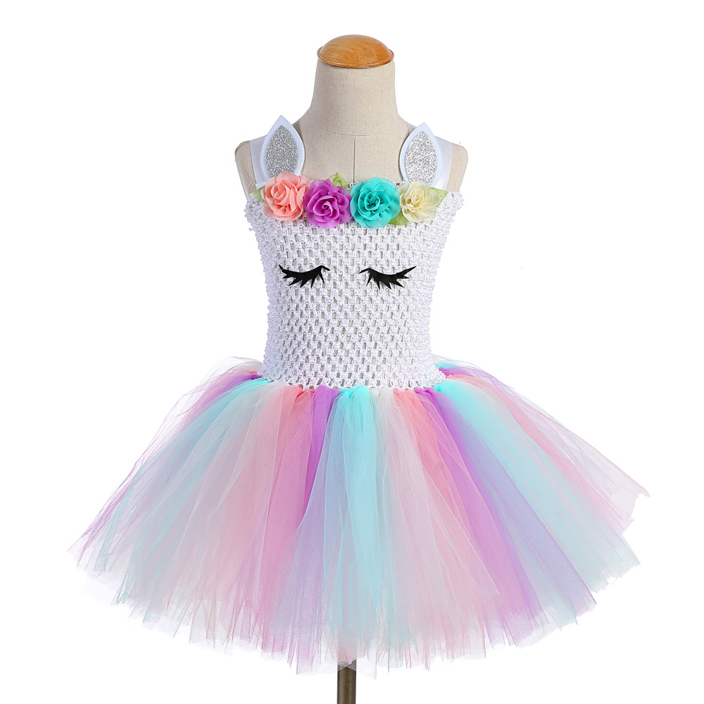 Cute Girl Unicorn Tutu Dress for Little Kid Flower Pony Birthday Party Knee Length Dress Outfit Pastel Unicorn Halloween Costume (1)