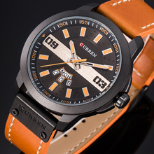 カレンファッションビジネス男性時計表示日付週クォーツ腕時計防水男性時計レロジオmasculino montreオム