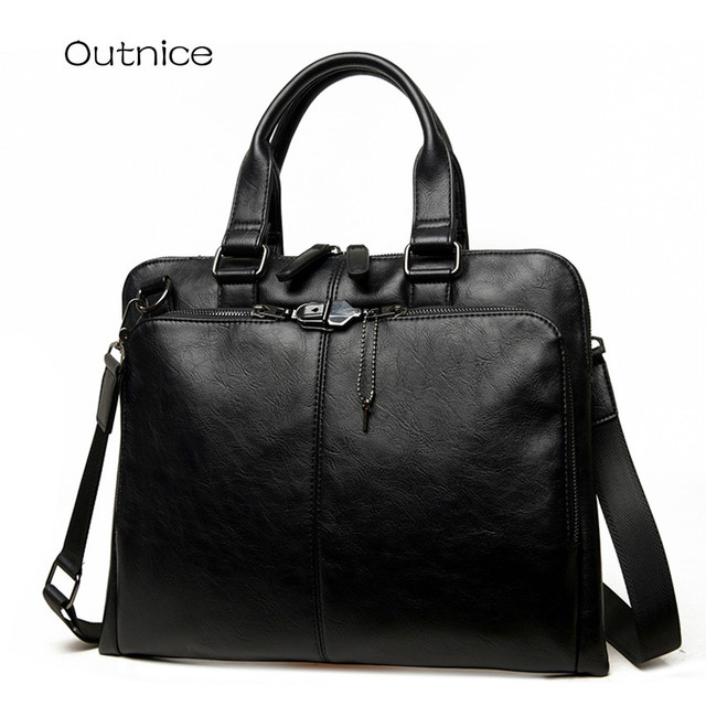 2017 Men Casual Thin Briefcase Business Shoulder Bag Leather Male Messenger Bags Computer Laptop Handbag Pack Men's Travel Bags
