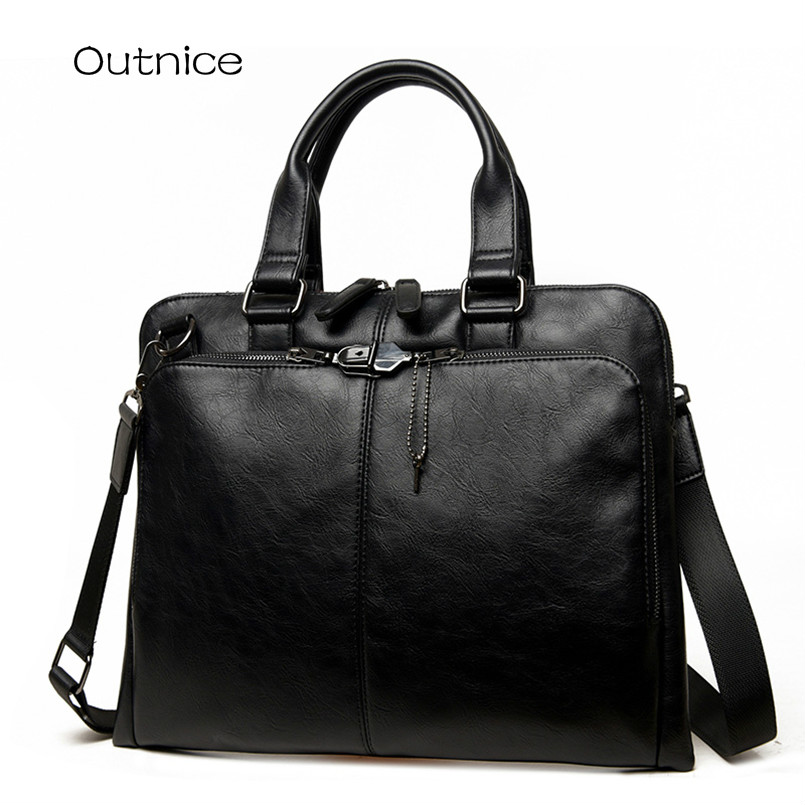 ФОТО OUTNICE Brand Men's Business Briefcase Second Layer Cowhide Leather Mens Laptop Handbag Male Daily Work Bag for Men High Quality