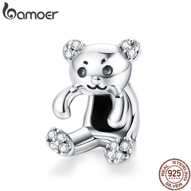 BAMOER Authentic 925 Sterling Silver Little Bear Pendant Clear CZ Animal Charms Fit Charm Bracelets Necklace DIY Jewelry SCC984