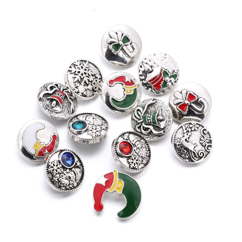 10pcs/lot Christmas Snap Button Jewelry Metal 18mm Snap Buttons fit Snap Bracelet Bangles For Christmas Gift