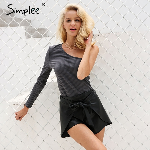 Simplee Elegant black faux leather shorts Women sexy autumn bow high waist shorts Casual streetwear irregular shorts bottom 2017
