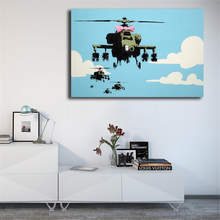Vapor Helicopter UAV By Banksy Wall Art Canvas Posters Prints Painting Pictures For Office Bedroom Home Decor Accessories