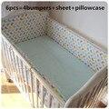 Promoção! 6 pcs Folha de Conjuntos de Cama Do Bebê Do Berçário Do Bebê Berço Bumpers, incluem (bumpers + folha + fronha)