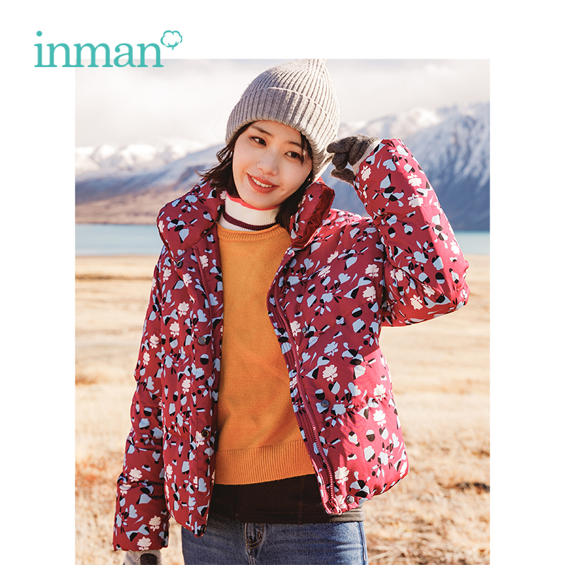 INMAN Winter Turn   Down   Collar Contrast Color Loose Style Floral Short Women   Down     Coat