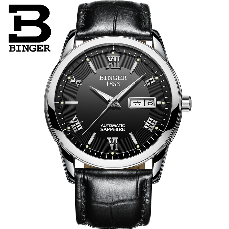 Switzerland watches men luxury brand Wristwatches BINGER luminous Mechanical Wristwatches leather strap Waterproof BG-0383-13Switzerland watches men luxury brand Wristwatches BINGER luminous Mechanical Wristwatches leather strap Waterproof BG-0383-13