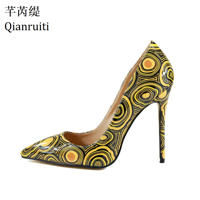 Qianruiti Yellow Printed Patent Leather Women Pumps Sexy Pointed Toe Night Club Party Shoes Shallow 12CM High Heels Women Shoes стоимость