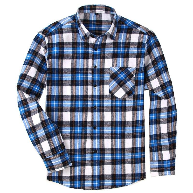 100% Baumwolle Flanell Männer Plaid Shirt Slim Fit Männlichen Beiläufige Lange Ärmeln Shirts Dtf07 Knitterfestigkeit