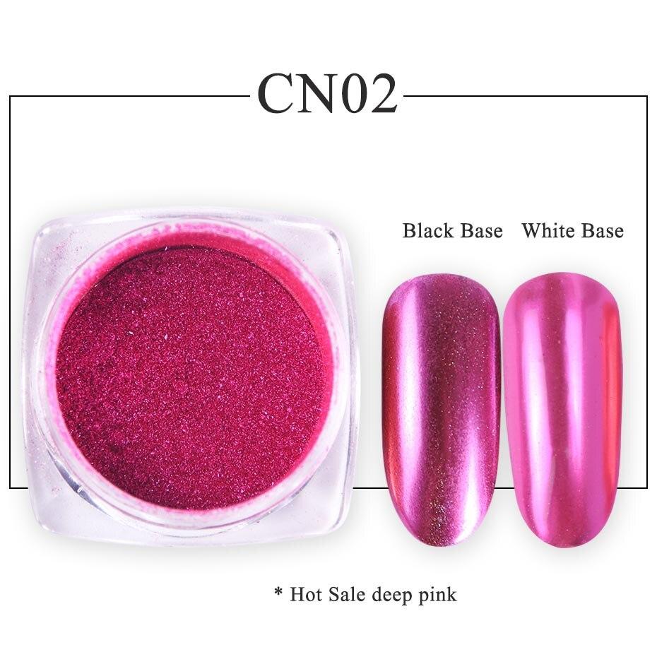 Зеркальный лак для ногтей, порошковая голографическая металлическая розовые, золотые, серебряные пылезащитные блестки, УФ-гель для ногтей, хромированное пигментное украшение CHC/ASX - Цвет: CN02