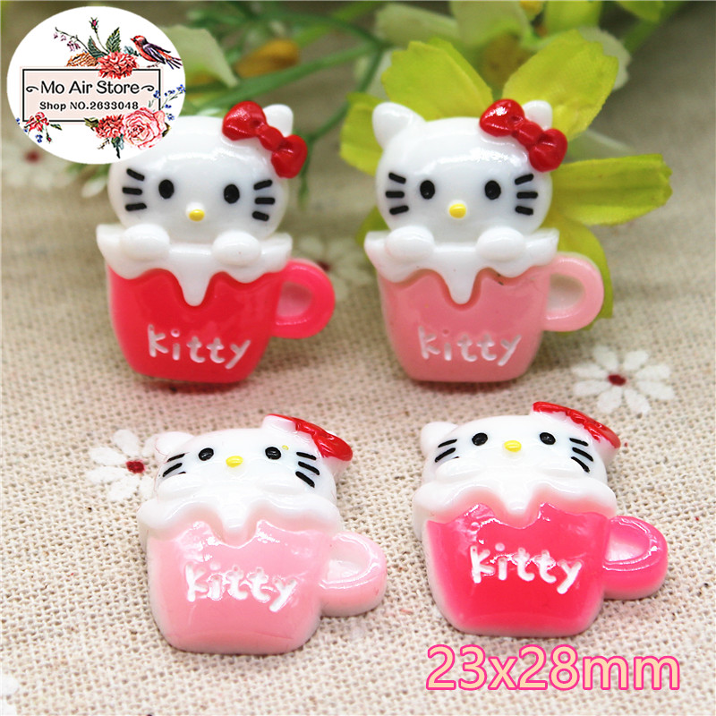 Hello kitty cup 10PCS resin Flat back Cabochon Miniature Food Art Supply Decoration Charm Craft