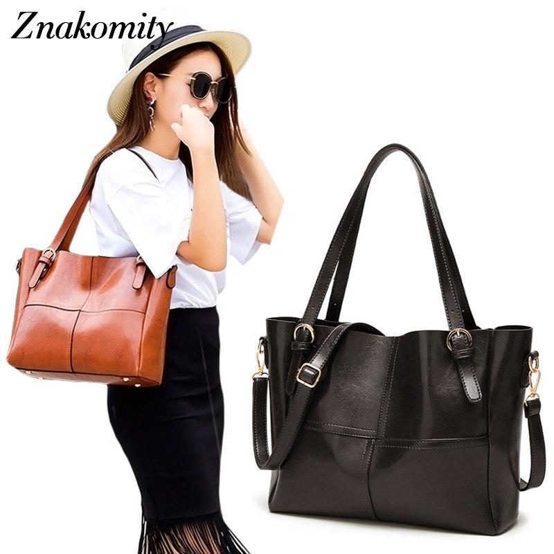 все цены на Znakomity Handbags Women shoulder bag women's black Leather handbags ladies Casual tote women hand bag for woman messenger bags онлайн