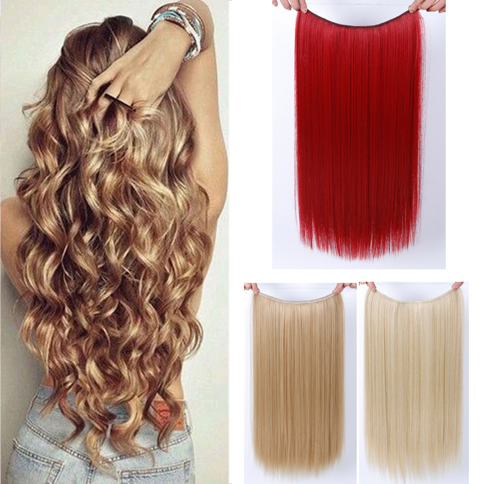 WTB Long Black Blonde Synthetic Hair Pad 12 Heat Resistant Hairpieces Fish Line Halo Invisible Wavy Hair Extensions
