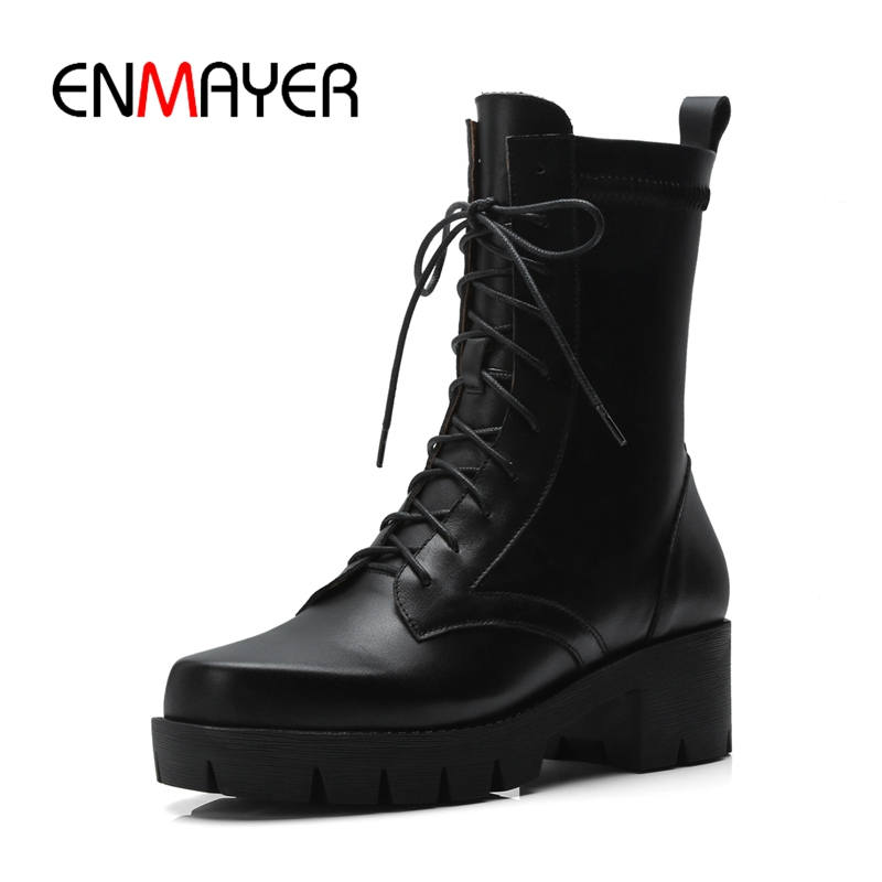 ENMAYER New fashion women solid lace up square heel platform  boots lady fashion cross-tied boots Size 34-39 ZYL812ENMAYER New fashion women solid lace up square heel platform  boots lady fashion cross-tied boots Size 34-39 ZYL812