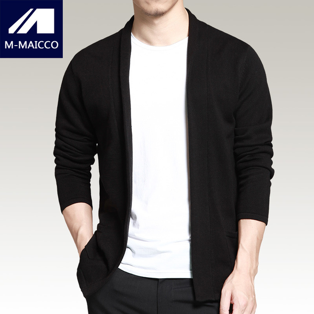 M-MAICCO brand mens sweater Autumn thin section of fashion jacquard black casual knit cardigan High-quality long-sleeved sweater