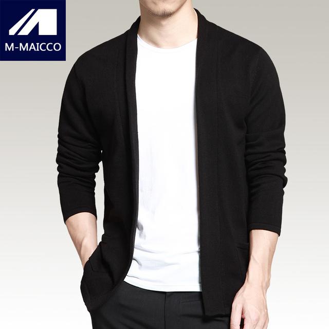 M-MAICCO mens marca camisola Outono seção fina de moda jacquard preto casual knit cardigan de Alta Qualidade longo-sleeved camisola