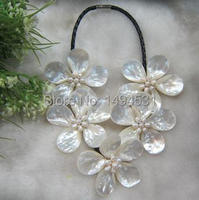 New Arriver Fashion Flower Jewelry Handmade Freshwater Pearl Saltwater Mop Shell Flower Wrap Necklace Free Shipping