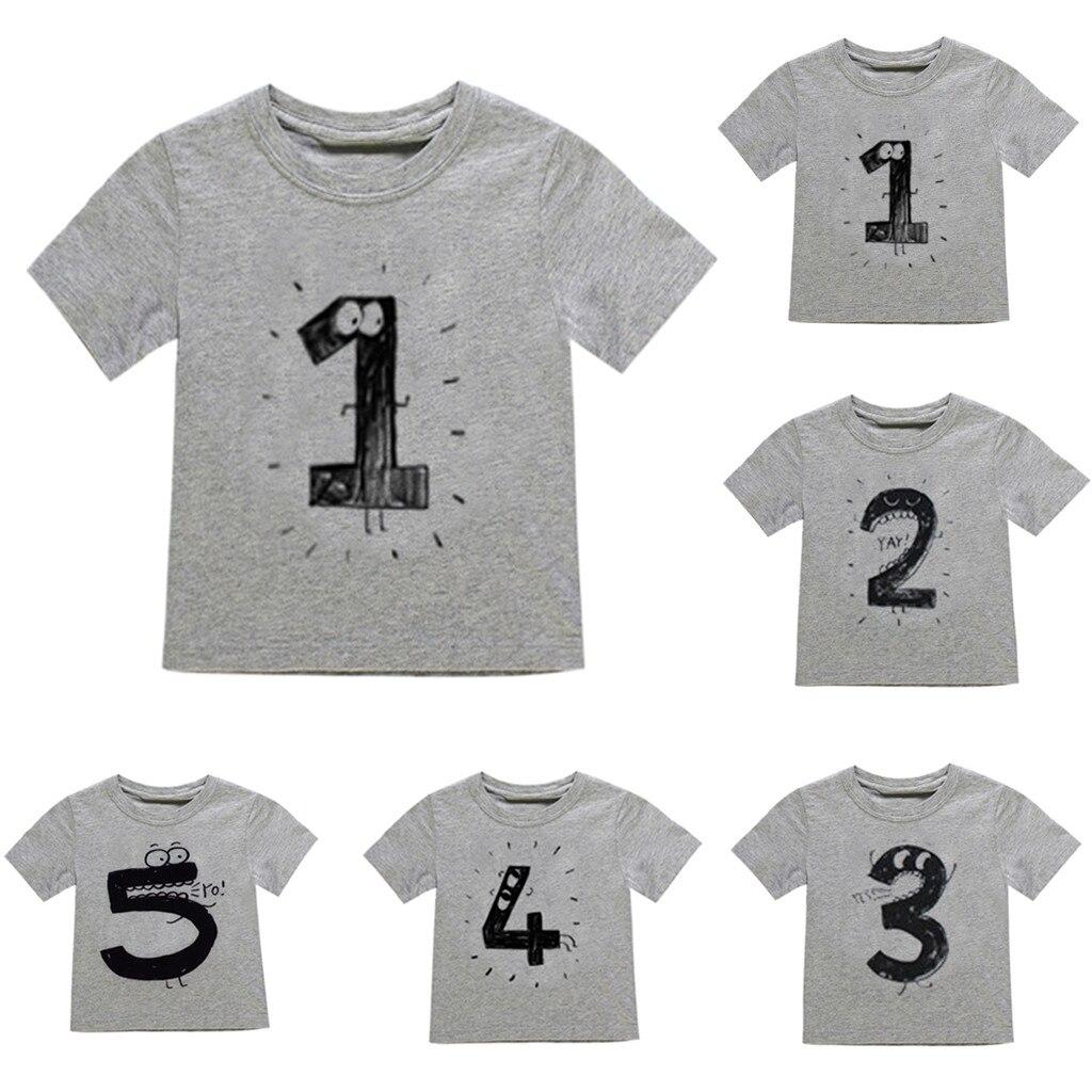 T-Shirt Tops Number Short-Sleeve Girl Boy Children's Cartoon Tee Comfort Stylish Digital-Printing