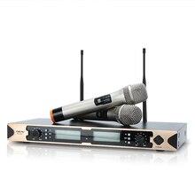 YUEPU RU-803ZN UHF Profissional Microfone de Karaokê Sem Fio 2 Microfone Sem Fio Handheld Sinal Estável Para Conferência de Palco Cantora