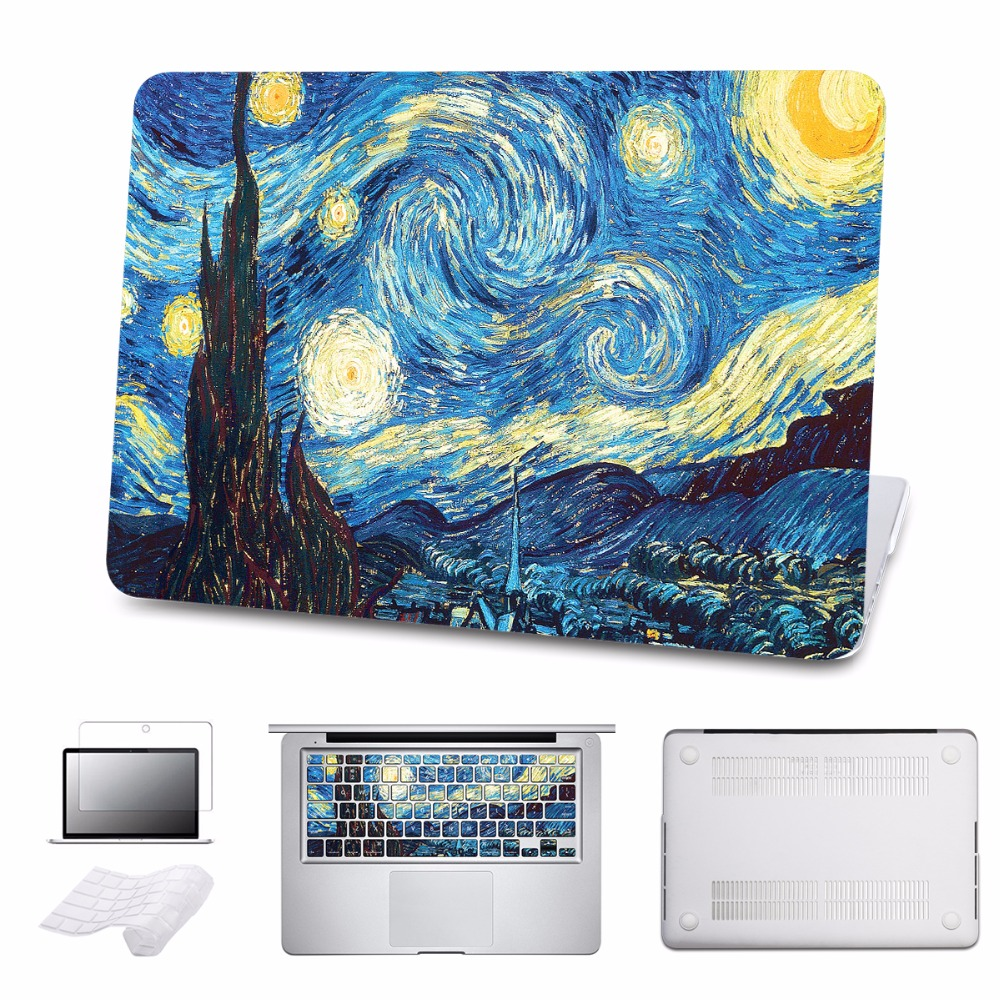For MacBook Pro 13 Case Pro 15 A1707 Touch Bar PaintingTower Cover for Apple Macbook Air Pro Retina 11 12 13.3 15 5 in 1 Bundle new for coque macbook air pro retina 11 13 15 cover marble stone pc case for macbook air 13 case free keyboard cover dust plug