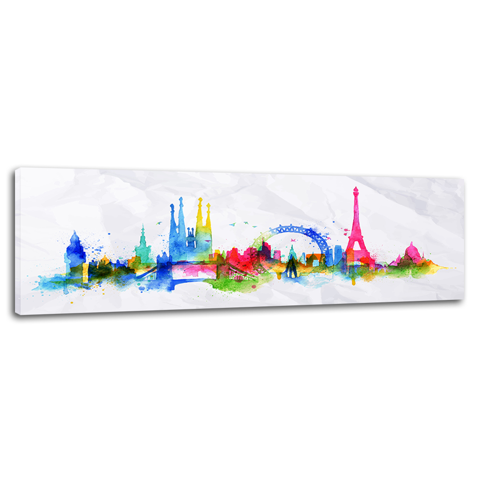 City Silhouette London Paris Poster Print Home Decor Wall Art Canvas Painting