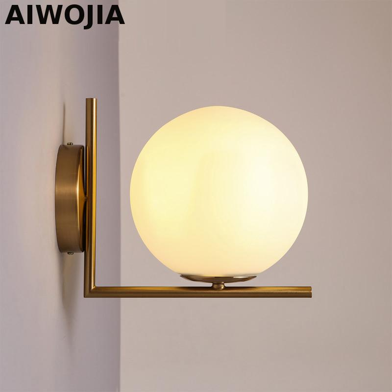 Modern Led Wall Lamp Sconce For Living Room Bedroom Wall Light Iron Body Glass Lampshade Bathroom