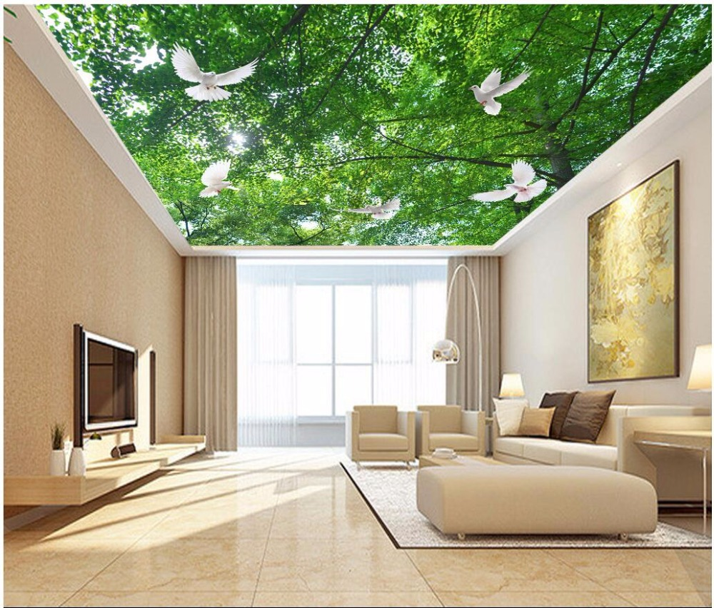 3d room ceiling murals wallpaper custom photo The green leaves shade the dove decoration painting 3d wall murals wallpaper 3d room ceiling murals wallpaper custom photo non woven the unicorn dove in the sky decoration painting 3d wall murals wallpaper