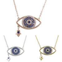 Cubic Zirconia Pave Evil Eye Hamsa Hand Pendant In Rose Gold White Gold Color Plated