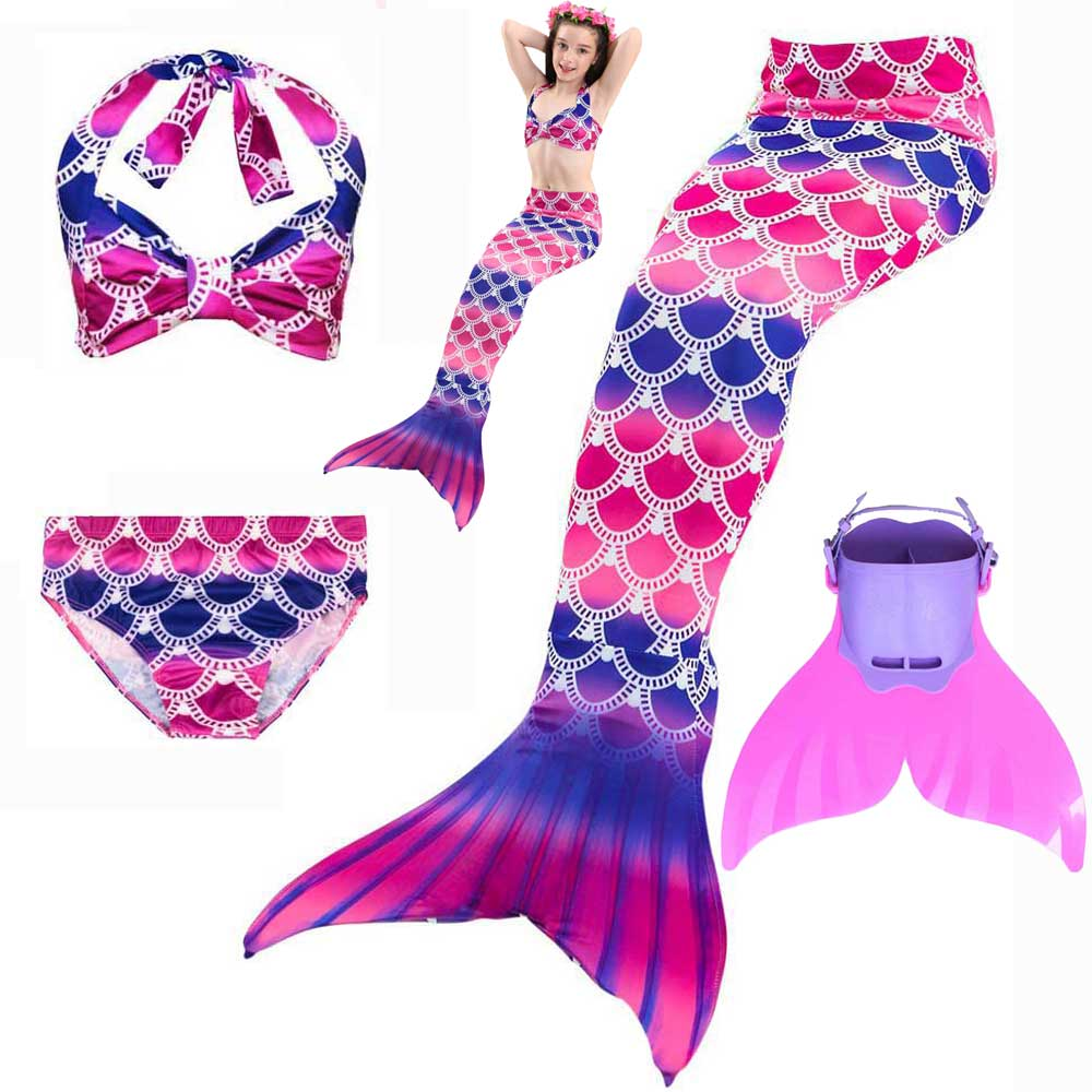 Girls Costume Swimmable Sparkle Mermaid Tails Swimsuit Kids Children Mermaid Tail For Swimming Bikini And Swim Dress Fin