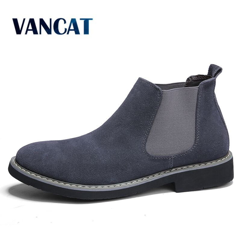 New Men Chelsea Boots Ankle Boots Fashion Men's Brand Cow Suede Leather Quality Slip Ons Motorcycle Warm Men's Boots Big Size 46