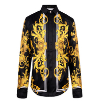 2017 New Fashion Floral Print Dragon Slim Fit Shirts Men S Long Sleeve Casual Black Long