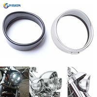 Motorcycle Accessories Black/Chrome 5.75 inch Visor Style headlamp Trim Ring for Harley Dyna XL883 XL1200