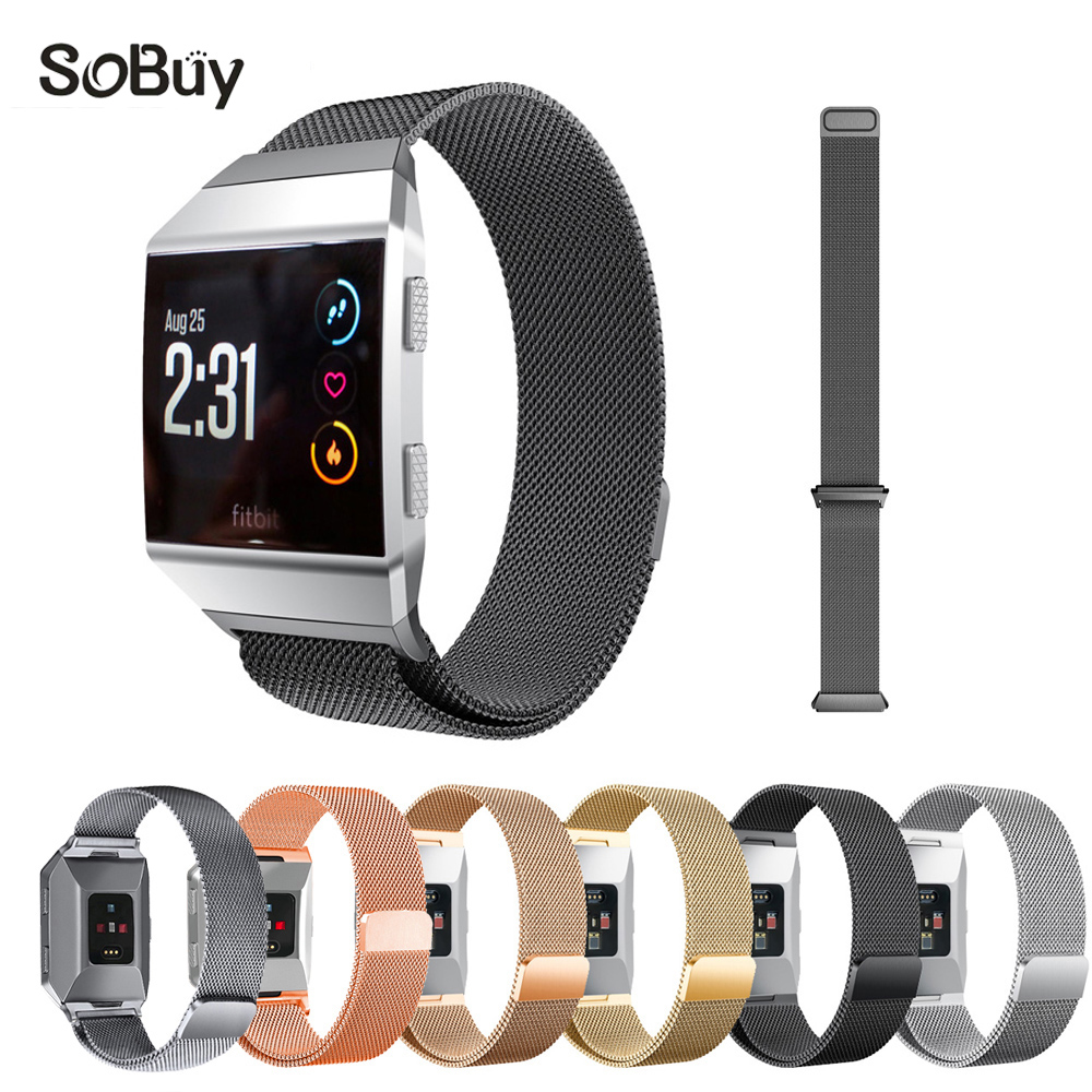 IDG metal Magnetic Milanese Loop Wrist strap Link Bracelet Stainless Steel Band Adjustable Closure for Fitbit ionic large Small