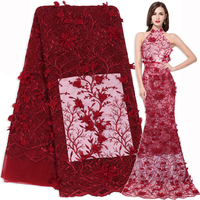 African Lace Fabric High Quality 3D Flower Embroidered DIY Trim Sewing Wedding Bridal Women Dress French Net Tulle Fabric Lace