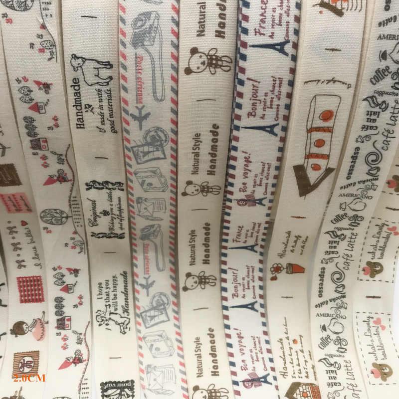 5 หลา/lot 20 มม.ผ้าฝ้ายริบบิ้น Handmade ออกแบบพิมพ์ริบบิ้นผ้าฝ้ายริบบิ้นสำหรับงานแต่งงานตกแต่งคริสต์มาส DIY เย็บผ้า