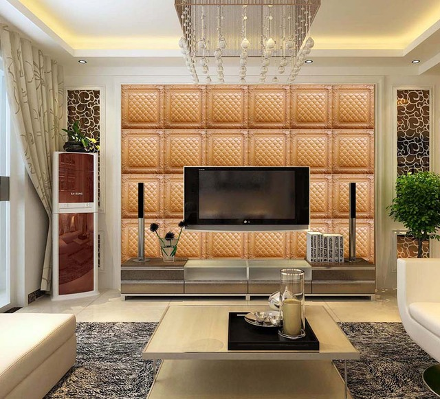 3D Wall Panels Faux Leather Soundproof Wall Tiles For Living Room