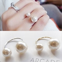 Moda feminina tamanho pérola aberto anel temperamento selvagem moda anel comum duplo pérola anel jóias amante presente