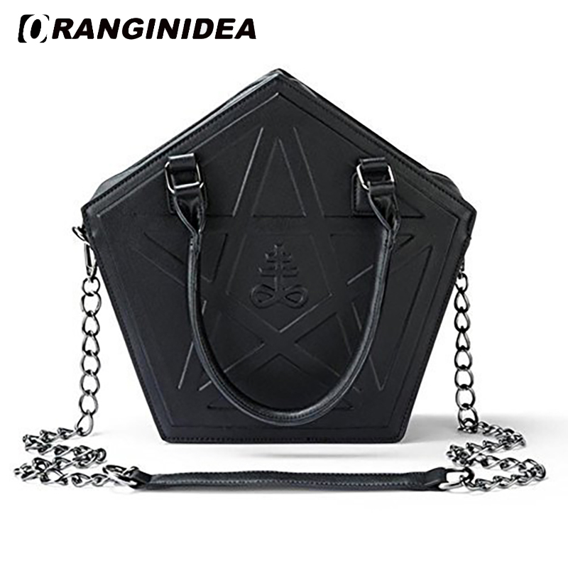 2018 Pentagram Handbags Women Punk Darkness Gothic Five Star Shoulder Bags Girl Black PU Messenger Bag Chain Crossbody Bag