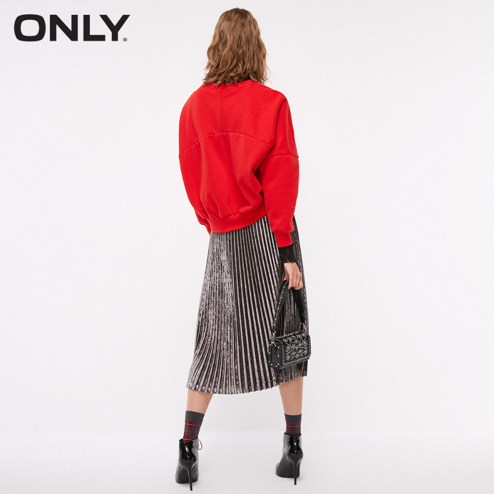 ONLY Women's autumn new cartoon letter embroidery and velvet Sweatshirt | 11839S521