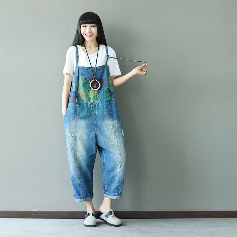 Vintage Retro Hippie Boho Hip Hop Overalls Harem Vintage Print Casual Pantalon Femme Cotton Denim Jeans Pants for Women Trousers