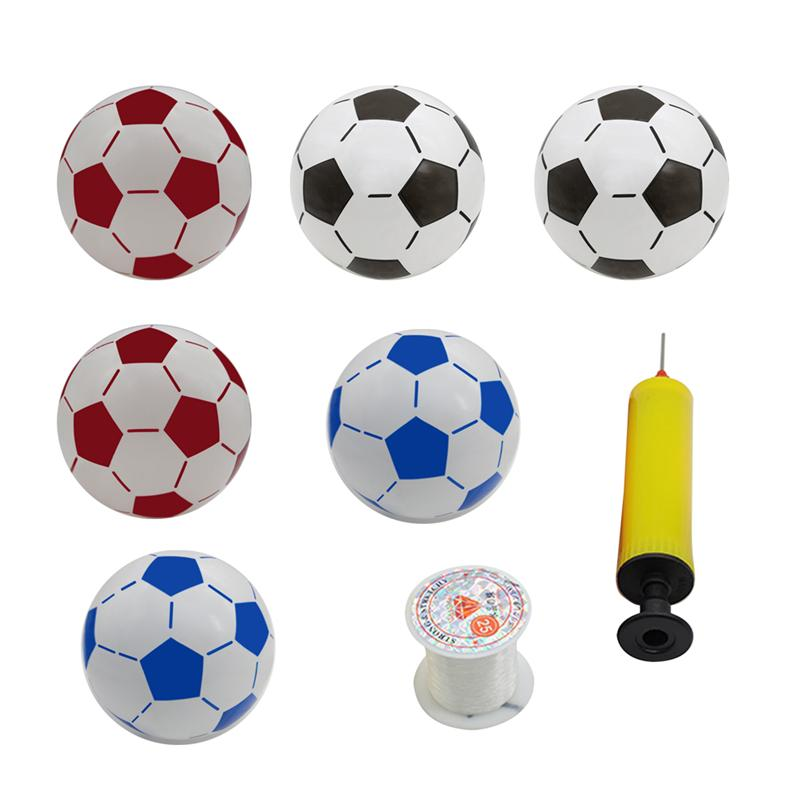 Football sets 6 pcs Inflatable Soccer Balls Kids Football Toys &Inflator &Fish line Toy Ball Kids Outdoor Activities Sports