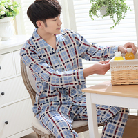 Men's Pajamas Long Sleeve Sleepwear Cotton Plaid Cardigan Pyjamas Men Lounge Pajama Sets Plus size M-3XL 203
