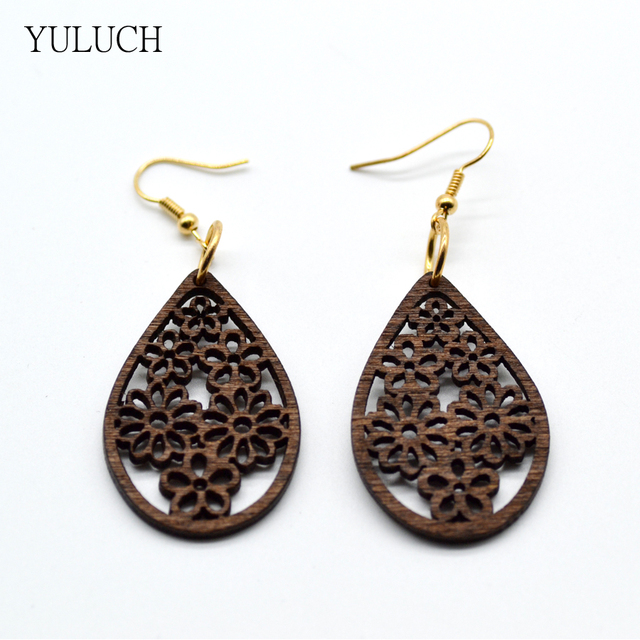 Yuluch 2017 New Design Woman Eardrop Earrings Personality Hollow Latest Good Quality Wood S Jewelry