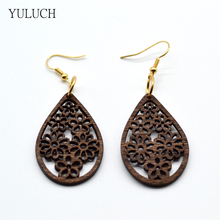 YULUCH 2017 New Design Woman Eardrop Earrings Personality Hollow Latest Good Quality Wood Earrings Girls Jewelry 1 Pair Retail