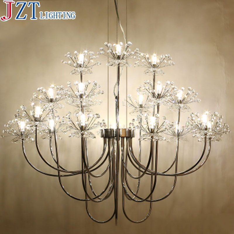 M Living Room LED G4 Crystal Chandeliers Nordic Art Personalized Bedroom Lamps Creative Stainless Steel 9/18 Lights Warm Lights modern led lamps round crystal chandeliers bedroom living room lights drawing lights warm room restaurant bedroom lamps