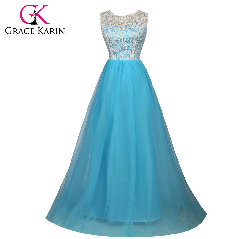Grace Karin Real Picture Long Evening Dresses Fashion A line Sleeveless Lace Tulle Sky Blue Robe