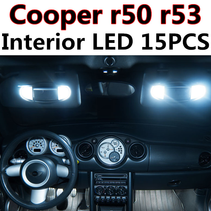 15pcs X free shipping Error Free LED Interior Light Kit Package for MINI Cooper r50 r53 S/JCW accessories 2001-2006 free shipping new arrival 35pcs pack 2m pcs led aluminum profile for led strips with milky or transparent cover and accessories