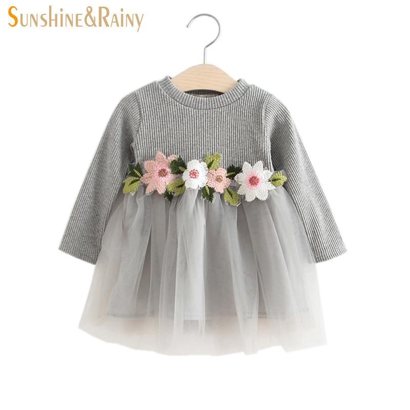 Sunshine & Rainy Autumn Baby Girls Dresses Flower Girl